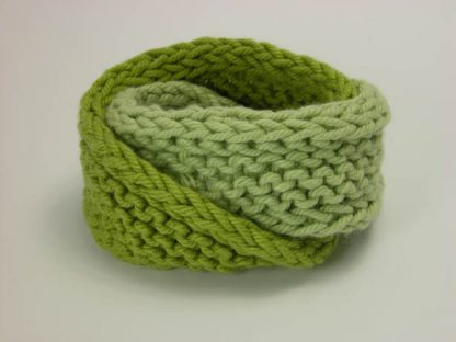 Hand knit double mobius bracelet in celery and gooseberry cotton by Kate Wilcox-Leigh