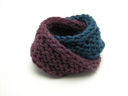 Hand knit double mobius bracelet in eggeplant and gobel in blue wool by Kate Wilcox-Leigh
