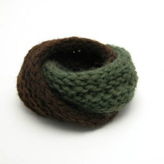 Hand knit double mobius bracelet in olive and brown wool by Kate Wilcox-Leigh
