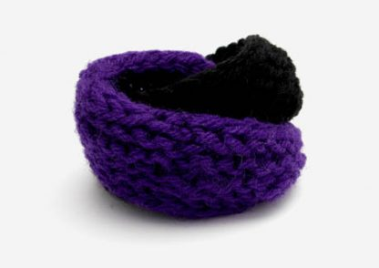 Hand knit double mobius bracelet in purple and black wool by Kate Wilcox-Leigh