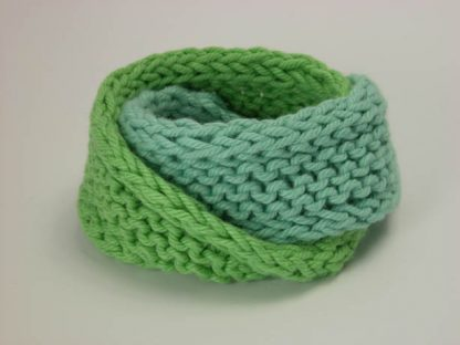 Hand knit double mobius bracelet in seafarer and mojitto cotton by Kate Wilcox-Leigh